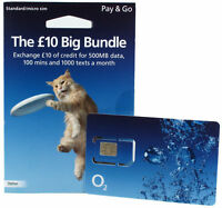 NEW o2 02 PAY AS U GO £10 BIG BUNDLE sim (buy1 get 2 free) trio size