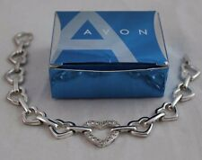 AVON Silver Tone RHINESTONE ACCENTED LINKED HEARTS Bracelet