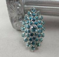 High End Genuine Blue Topaz 4+ Carat Designer Silver Tone Size 7 Cocktail Ring