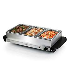 New Ovente Electric Buffet Server Three Sectional Food Warmer Tray Silver FW173S