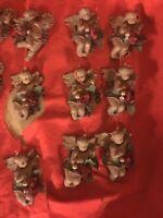 "21 Cherub Angel Brown Ornaments 2 1/2"" Mandolin Flute Tambourine Roses"