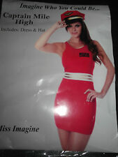 NEW ADULT SEXY FANCY DRESS WOMAN CAPTAIN MILE HIGH HALLOWEEN HEN PARTY SIZE 8/10