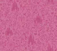 Disney Princess Castle Hot Pink on Satin Hot Pink Sure Strip Wallpaper DS7612