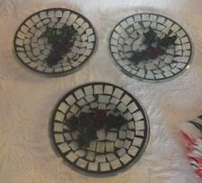 "Set of 3 Mosaic Candle Plate Holly Christmas Decoration 5"" Diameter"
