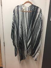 8d2cea6e0f Michael Stars Ruana Scarf Sarong Black White Multi-use cover up swimsuit  summer