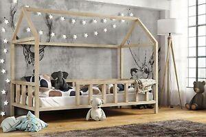 Hausbett Kinderbett mit Rausfallschutz - Holz Bett 80x160 90x180 90x200 cm