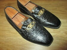 GIORGIO BRUTINI GOLD LION BUCKLE OSTRICH LOAFER SHOES SIZE 10 M SUPERB.!