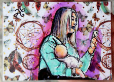 ORIGINAL Sketch Portrait Woman Her Baby and IPhone Social Networks Watercolor