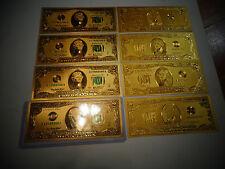 New listing Lot Of 10*24 Karat 99.9% Gold U.S $ 2 Bill-Green Seal-Rigid Pvc Bill Holder