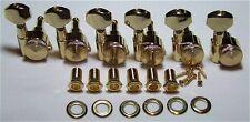 Guitar Parts Thumbwheel Lock - LOCKING - 6 In Line - TUNERS SET - GOLD