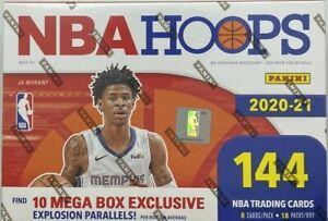 Panini NBA Hoops 2020-21 MEGA Box Sealed New, 144 Cards, 18 Packs, NEW!