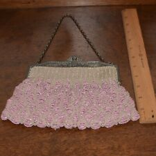 ANTIQUE VICTORIAN BEADED PURSE GLASS MICRO BEADS PINK 1890's – 1910's