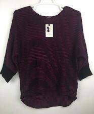 Dana Buchman Womens Boatneck Sweater XL 3/4 Sleeve Magenta Black Print (U19)