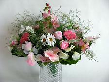 Strauß Blumen Seidenblumen  Rittersporn Rosen Gerbera weißer Lavendel rosa