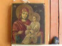 Ancient beautiful Icon.Mother of God with  Child Jesus Christ,Russia start 19th