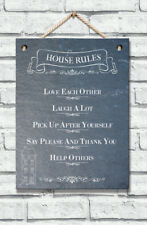 Real Slate Home Rules Plaque Hanging Sign Home Decoration Gift House Rustic Chic