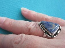 925 Sterling Silver Ring With Blue Sodalite UK O, US 7.25 (rg2749)