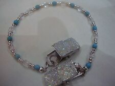 Hat saver turquoise clear bead sparkly clips unisex don't lose your hat again