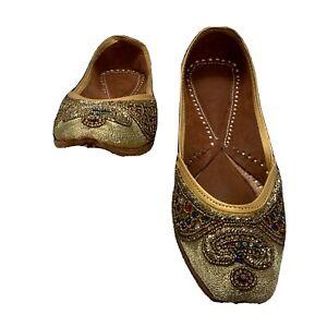 Punjabi jutti khussa Gold wedding Beaded Bridal Mojari Flat Jooti Shoe Size 6