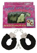 Furry Fluffy Costume Handcuffs Black Wrist Cuffs Soft Fur Bachelorette Hen Party
