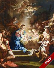 SHEPHERDS ADORE BABY JESUS CHRIST PAINTING CHRISTIAN BIBLE ART REAL CANVAS PRINT