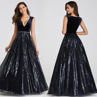 UK Ever-Pretty V-neck Velvet Formal Evening Party Dresses Pageant Celebrity Gown