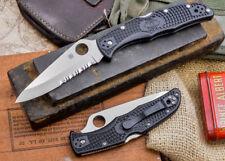 "Spyderco Endura 4 Folding Knife 3.8"" Part Serrated VG10 Blade Black FRN Handle"