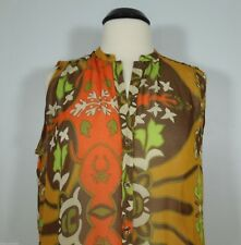 ZUPPE Printed Sheer Sleeveless Blouse Button Front size 8 (NEW)