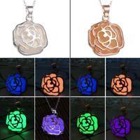 Magic Luminous Steampunk Fairy Rose Glow In The Dark Chain Pendant Necklace New