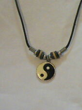 Yin Yang Surfer Necklace leather with beads