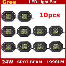 10X 24W CREE LED Work Light Bar Offroad Driving Fog ATV Spot Flush Mount UTE 4WD