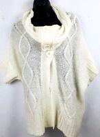 Tiara women's ivory cowl neck sweater size M poncho dolman sleeve