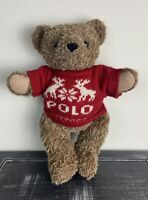 "Vintage 1998 15"" Ralph Lauren Polo Bear Red Christmas Sweater Plush Polo Bear"
