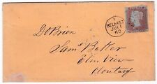 1860 JUN 11 LATE USE 1d IMPERF BELFAST DUPLEX COVER TO CLONTARF - IRELAND PL85
