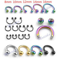 14G Steel Horseshoe Bar Ear Lip Nose Eyebrow Captive Ring Earring 8-14mm