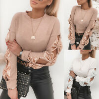 UK Women Bow Knot Jumper Knitted Blouse Tops Ladies Long Sleeve Pullover Sweater