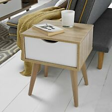 SCANDI STYLE CONTEMPORARY OAK LAMP BEDSIDE SIDE END TABLE WITH WHITE DRAWER