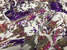 Velvet Sequins - Purple / Gold  4 Way Stretch Shiny Reversible Iridescent Fabric