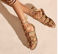 NEW ~ MICHAEL KORS MONTEREY GLADIATOR GOLD LEATHER SANDALS SHOES 8.5 M  $120