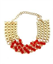 Gold plated Chevron Chain Bracelet  w/Red Plastic hanging beads.