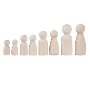 1 Family 8 Wood Peg Dolls Wooden Figures People DIY Craft Kids Birthday Toy