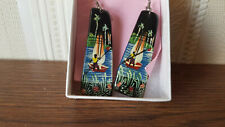 Haitian Earrings made of horn and handpainted with boat design, Haiti