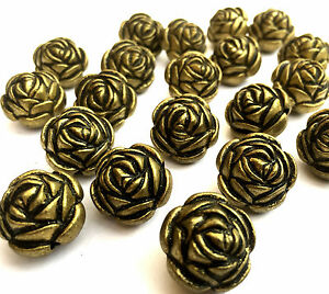 20 x Large Flower Rose Antique Bronze Acrylic Beads 15mm x 13mm Hole 2mm