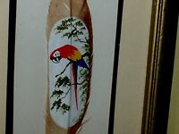 Feather Painting Scarlet Macaw Parrot on a Limb, Tropical Tree VINTAGE ORIGINAL