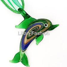 Green Dolphin Animal Lampwork Glass Murano Bead Pendant Ribbon Cord Necklace