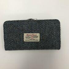 Harris Tweed Purse Black Grey Wool Large Rectangle Everyday Ladies 321435