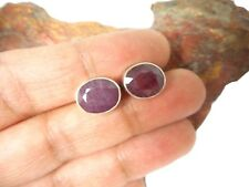 Oval  RUBY   Sterling  Silver   925   Gemstone  Earrings / STUDS   -  9 x 11 mm