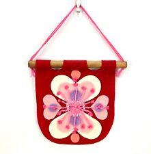 "Vintage Handmade Felt Craft Valentine's Day Miniature Wall Flag 6"" Heart Singed"