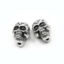 Packet 10 x Antique Silver Acrylic 17 x 23mm Skull Beads HA25430