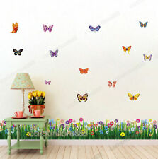 Large coloré papillons herbe art decal wall stickers mural home decor uk